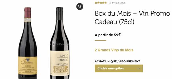 prix d'une box winebox prestige